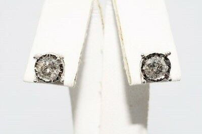 $1,500 .75Ct Natural Round Cut White Diamond Stud Earrings 10K White Gold