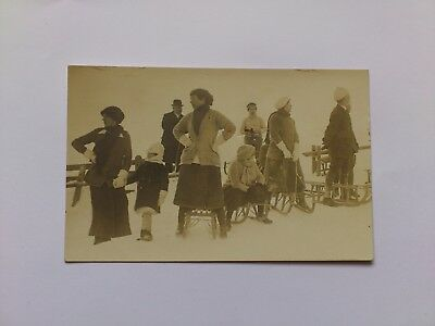 Old Social History Postcard Snow Scene People With Sledges