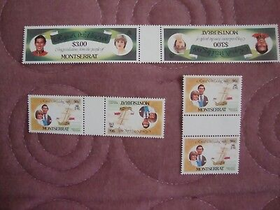 Royal Wedding 1981 Charles & Diana Montserrat booklet stamps in gutter pairs
