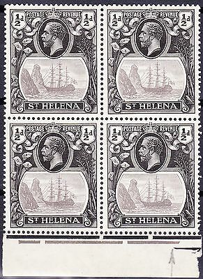 St Helena 1923 1/2d VARIETY TORN FLAG SG97b MNH IN PLATE BLOCK OF 4 FULLOG £275+