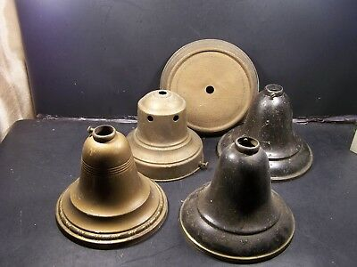 3  Lamp Bells--1 Empty Bell Fixture And Top Plate Only-Brass--All Unmarked