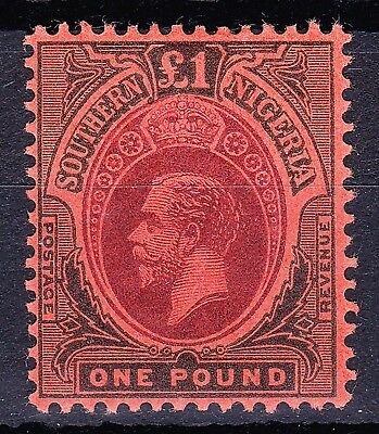 SOUTHERN NIGERIA 1912 GV £1 TOP VALUE SG 56 VF LH FULL OG Cv £200+
