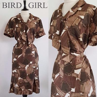 Bombshell 1950S Vintage Brown Paint Print Silk Pussybow Wiggle Dress 20-22 Xl
