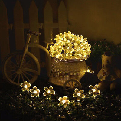 Solar Power Flower Stringing Fairy Lamps Garden Party Decoration Xmas LED Lights