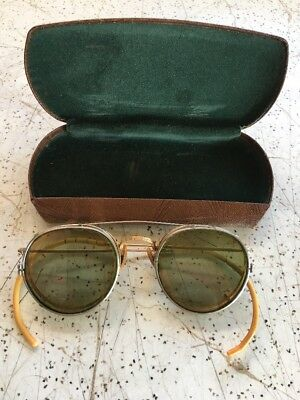 Vintage Safety Glasses Goggles Steampunk Wire W Clip On Tinted Lens VTG