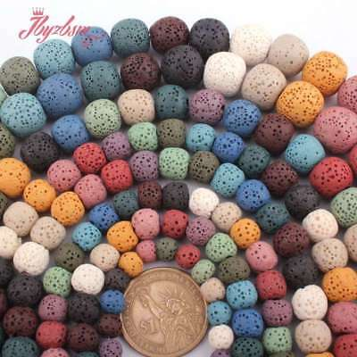"Round Mutil-Color Lava Rock Volcanic Stone Beads For Jewelry Making 15""6-14mm"