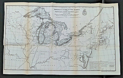 Original 1878 Progress Chart of Survey Great Lakes Typography Hydrography Map
