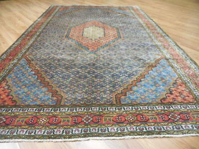 Ca1940s VG DYE ANTIQUE PERSIAN SENEH BIJAR SERAPI HERIZ 6x9.7 ESTATE SALE RUG