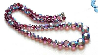 Czech Vintage Purple Aurora Borealis Necklace