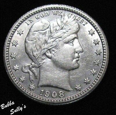 1908 Barber Quarter <> ABOUT UNCIRCULATED