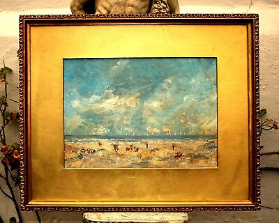 Exquisite C20th French Impressionist  Oil on Board - Beach at Trouville