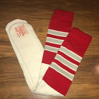 NEW Vtg 70s 80s Knee high TUBE SOCKS Red Gray White STRIPED Athletic Mod Calf
