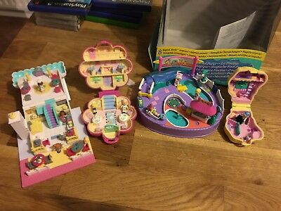 Polly Pocket Bundle - Polly Pocket Job Lot - Pizza Shop, Pony Ridin, Pool Party