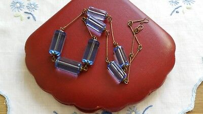 Czech Blue Tube Glass Bead Necklace Vintage Deco Style