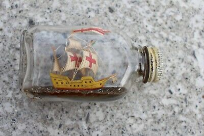 Small Antique Vintage Ship Boat in Bottle Folk Art Beautiful
