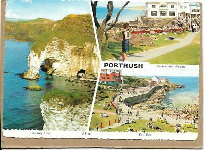 P0RTRUSH, multi-view postcard, Co Antrim