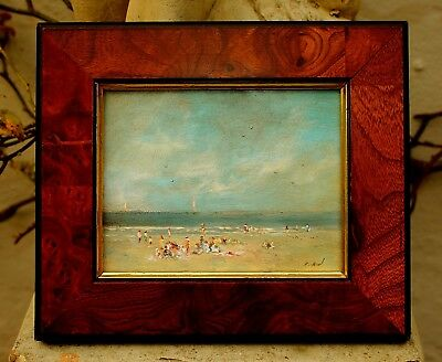Delightful Mid C20th English School Miniature Oil on Board - Beach Scene