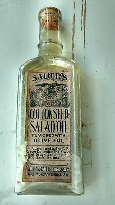Early Sauers Cottonseed Salad Oil Bottle All Original Never Opened