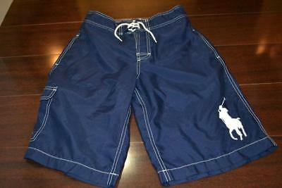 5438-a Boys Polo Ralph Lauren Board Shorts CARGO BIG PONY Blue Size Large