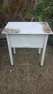 Sewing/hobby box - with drawer & lift-up lid - wood/painted white