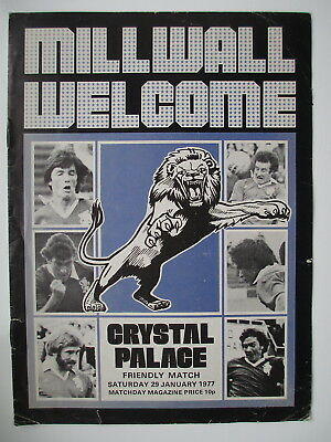 MILLWALL v CRYSTAL PALACE FRIENDLY 76/77