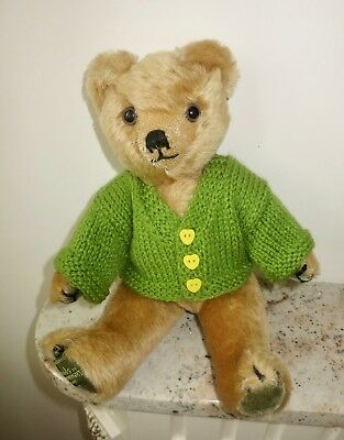 *TEDDY CLOTHES* new hand knitted cardigan to suit a 10-11 inch bear