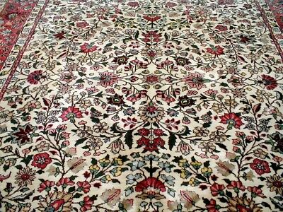 9X12 1960's GORGEOUS AUTHENTIC HAND KNOTTED IVORY WOOL KHOY KERMAN PERSIAN RUG