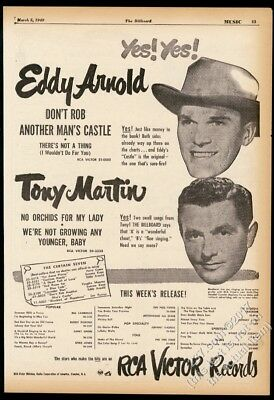 1946 Eddy Arnold Tony Martin photo RCA Victor Records vintage trade print ad