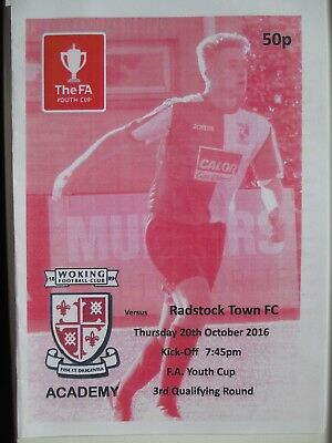 WOKING v RADSTOCK TOWN FA YOUTH CUP 16/17