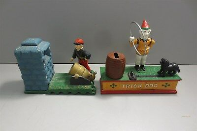 Cast Iron Coin Banks-Trick Dog-Artillery Bank