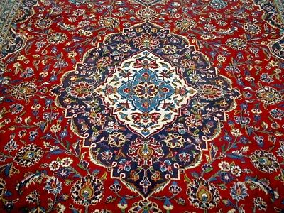 10X13 1940's AUTHENTIC HAND KNOTTED 70+YRS ANTQ SIGNED GHOTB KASHAN PERSIAN RUG