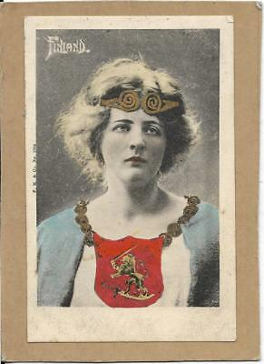 FINLAND, Girl in National Dress, pu 1904, old postcard