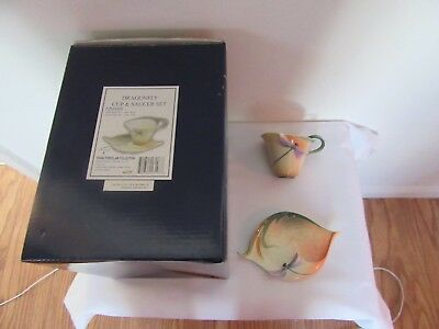FRANZ PORCELAIN DRAGONFLY CABINET CUP AND SAUCER FZ00028 TEA/COFFEE new with box