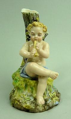Antique Royal Worcester Figure Playing A Pipe Posy Holder C.1880