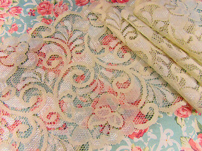 """4 yards Elastic/Stretch Ivory Soft Flower Floral Lace 6"""" Wide/Trim/Sewing T213"""