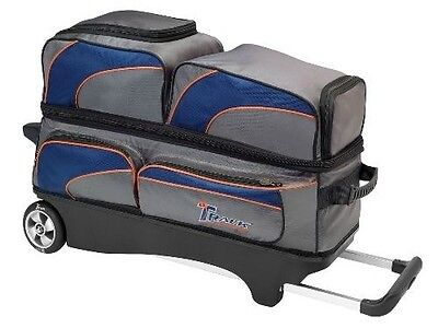 Track Premium 3 Ball Bowling Bag Roller Silver Blue