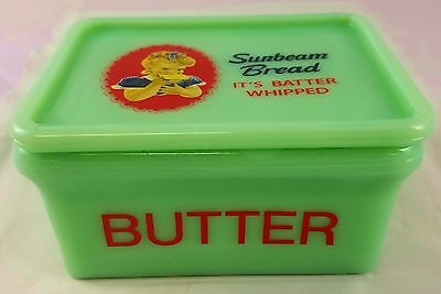 Jadite Green Glass Sunbeam Bread Young Girl Advertising Butter Dish With Lid