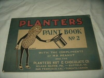 Original Uncolored 1929 Planters Peanut Paint Book No.2 Printed In The USA