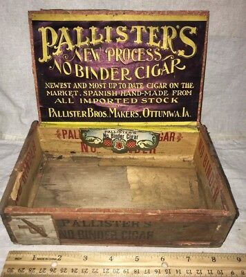Antique Wood Cigar Box Vintage Tobacco Pallisters No Binder Ottumwa Iowa Ia Old
