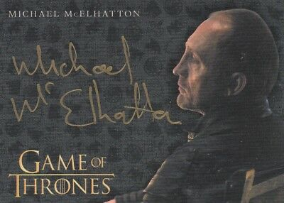 Game Of Thrones Valyrian Steel - Michael Mcelhatton (Roose) Gold Autograph El