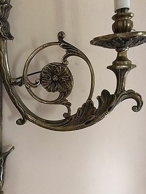 VTG ROCOCO Style Brass Wall 2 Light Fixture Sconce Made In Spain Six Available