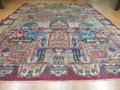 C1930 VEDY ANTIQUE PERSIAN PICTORIAL ARCHEOLOGICAL KASHMAR 10x13 ESATE SALE RUG