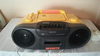 Vintage SONY SPORTS Yellow Stereo BOOMBOX CFD970 CD CASSETTE AM/FM Radio