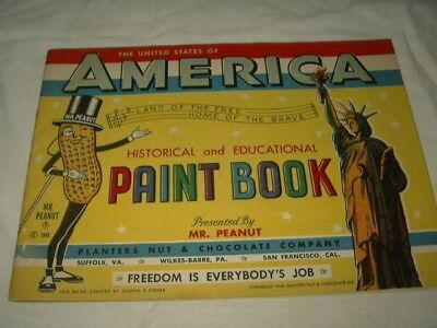 Original Uncolored 1949 Planters Peanut  Paint Book America History Educational