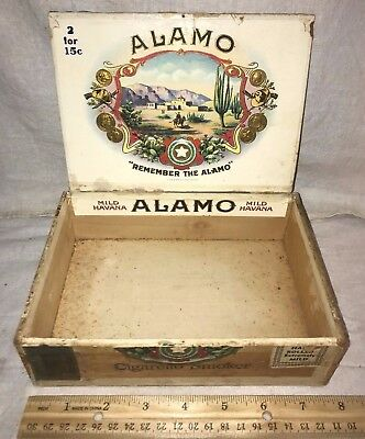 Antique Wood Cigar Box Vintage Tobacco Remember Alamo Texas Battle Revolution Tx