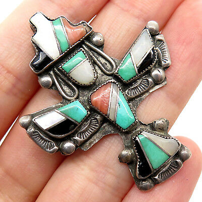 Signed UEX Navajo Old Pawn Sterling Silver Gemstone Tribal Totem Pin Brooch