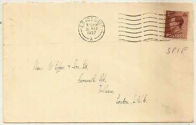 1937 KEVIII 1½d ENV LEICESTER->LONDON w/SPIF PERFIN
