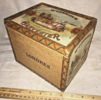 ANTIQUE WOOD CIGAR BOX VINTAGE TOBACCO McCORMICK HARVESTER HORSE DRAWN BINDER