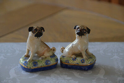 Pair Of Staffordshire Style Studio Pottery Pug Dogs - Basil Matthews