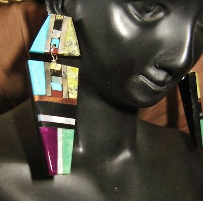 Kewa Pueblo Earrings-  Turquoise,onyx,serpentine Inlay Earrings- Warren K. Nieto